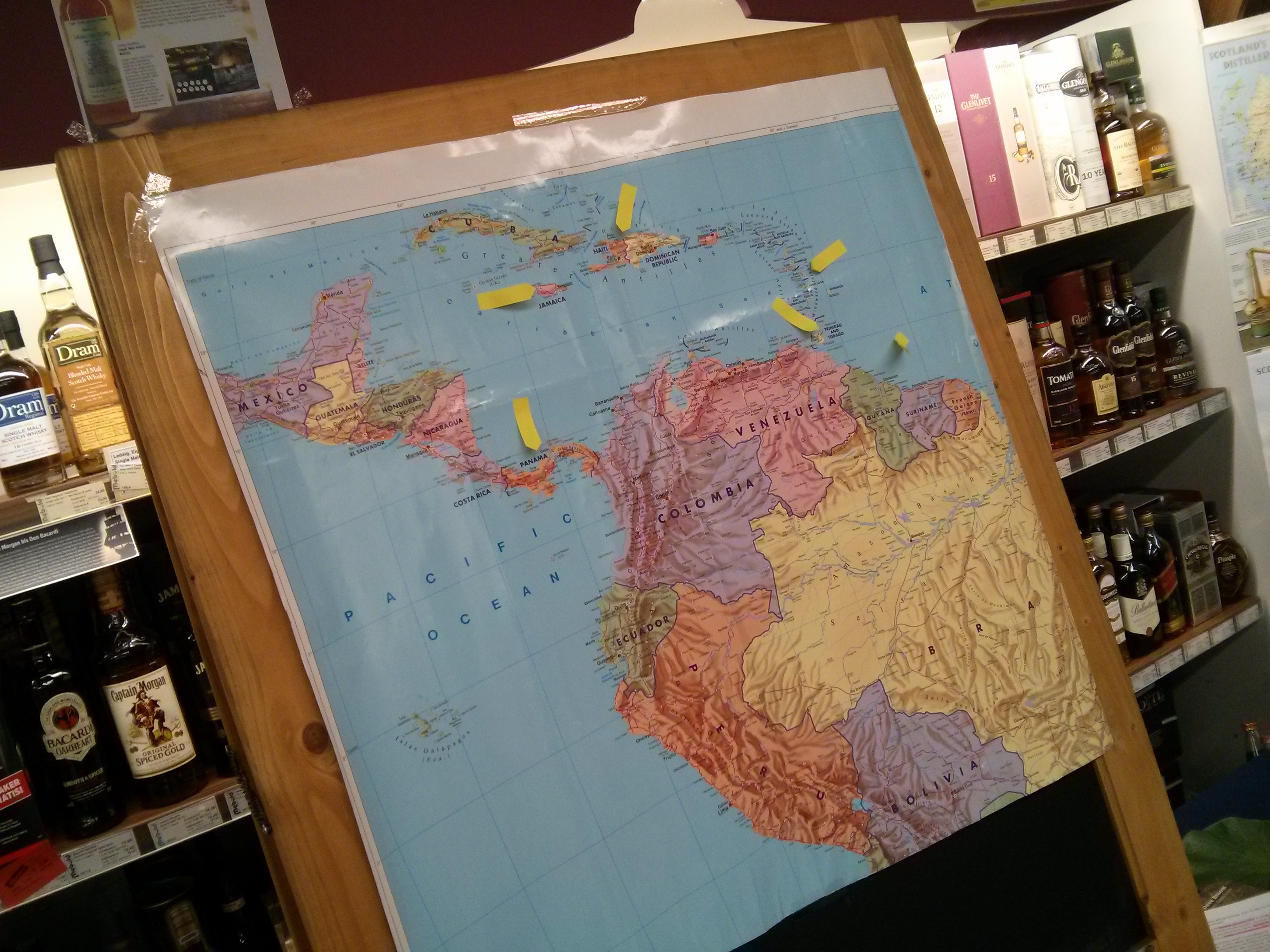Übersichtskarte der Herkunftsländer der verkosteten Rumsorten