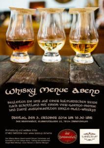 Plakat / Flyer des Tasteup Whisky-Menü-Abend
