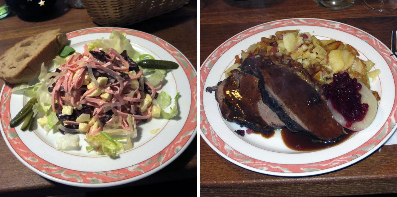 Die Speisenfolge des #whiskySBH: Wurstsalat und Wildschweinbraten