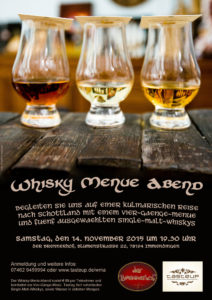 Plakat / Flyer des 3. Tasteup Whisky-Menü-Abend