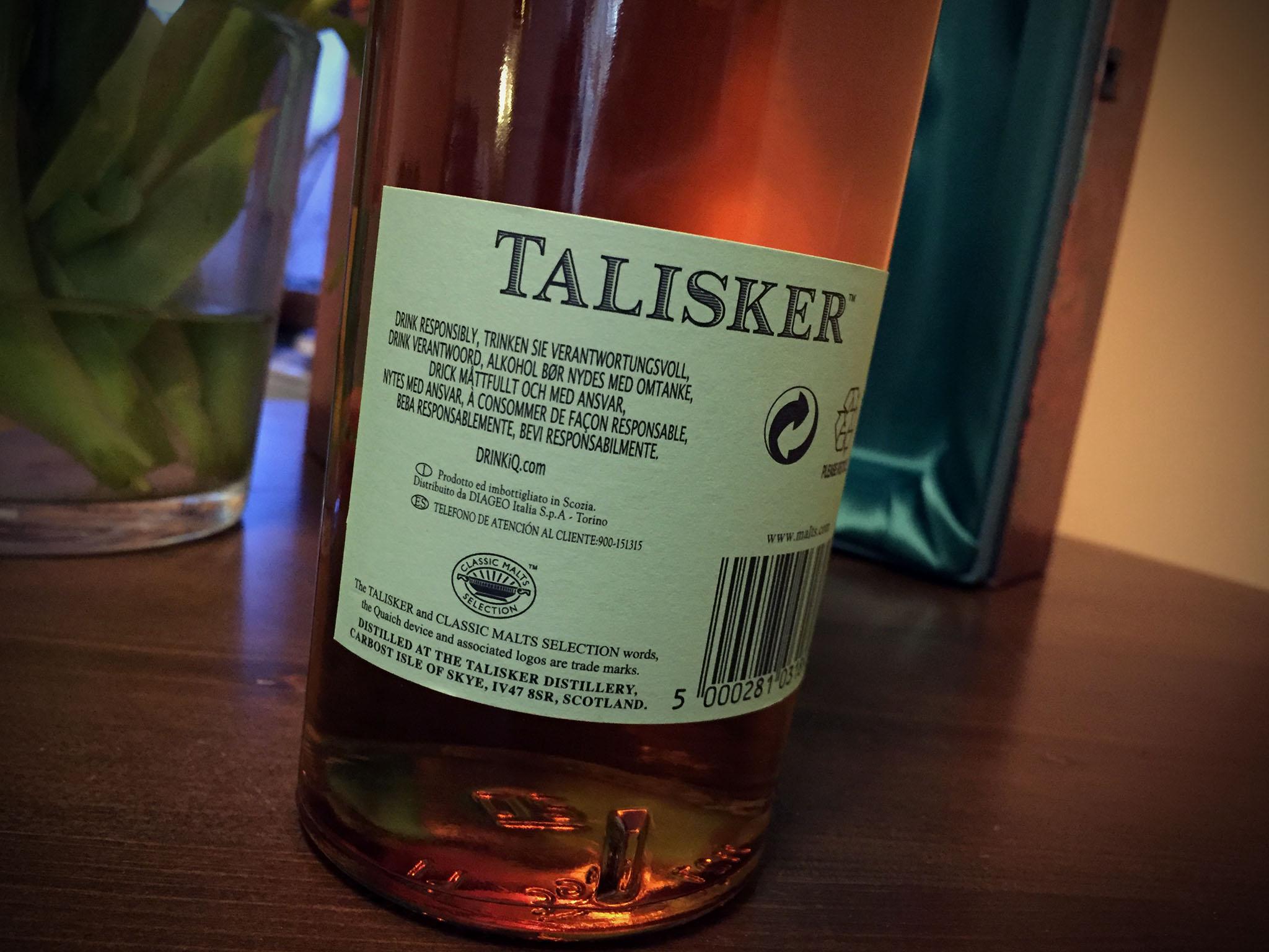 Talisker 35 Jahre Vintage 1977 Flasche hinten
